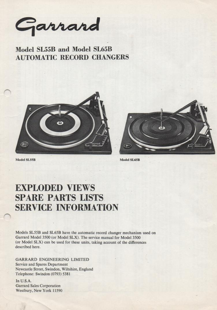 SL55B SL65B Turntable Service Manual.... Model 3500 & SLX manual may be be used in repairing this model..