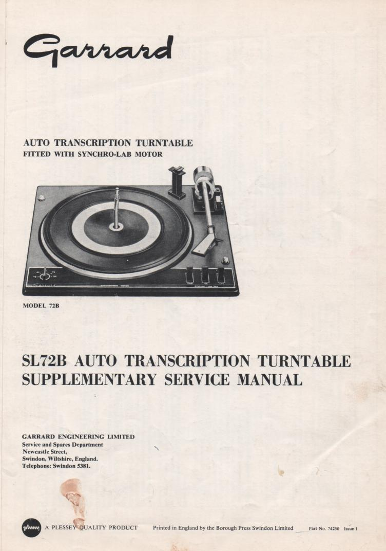SL72B Turntable Supplemental Service Manual