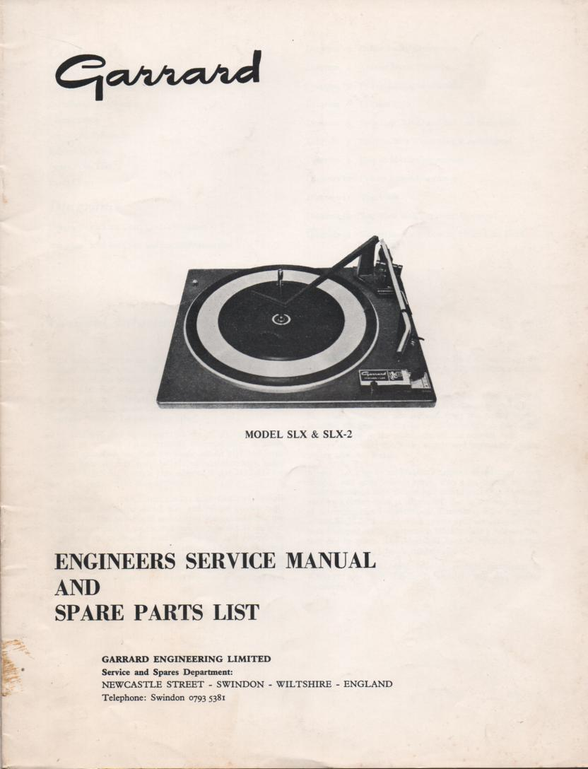 SLX SLX-2 Turntable Service Manual
