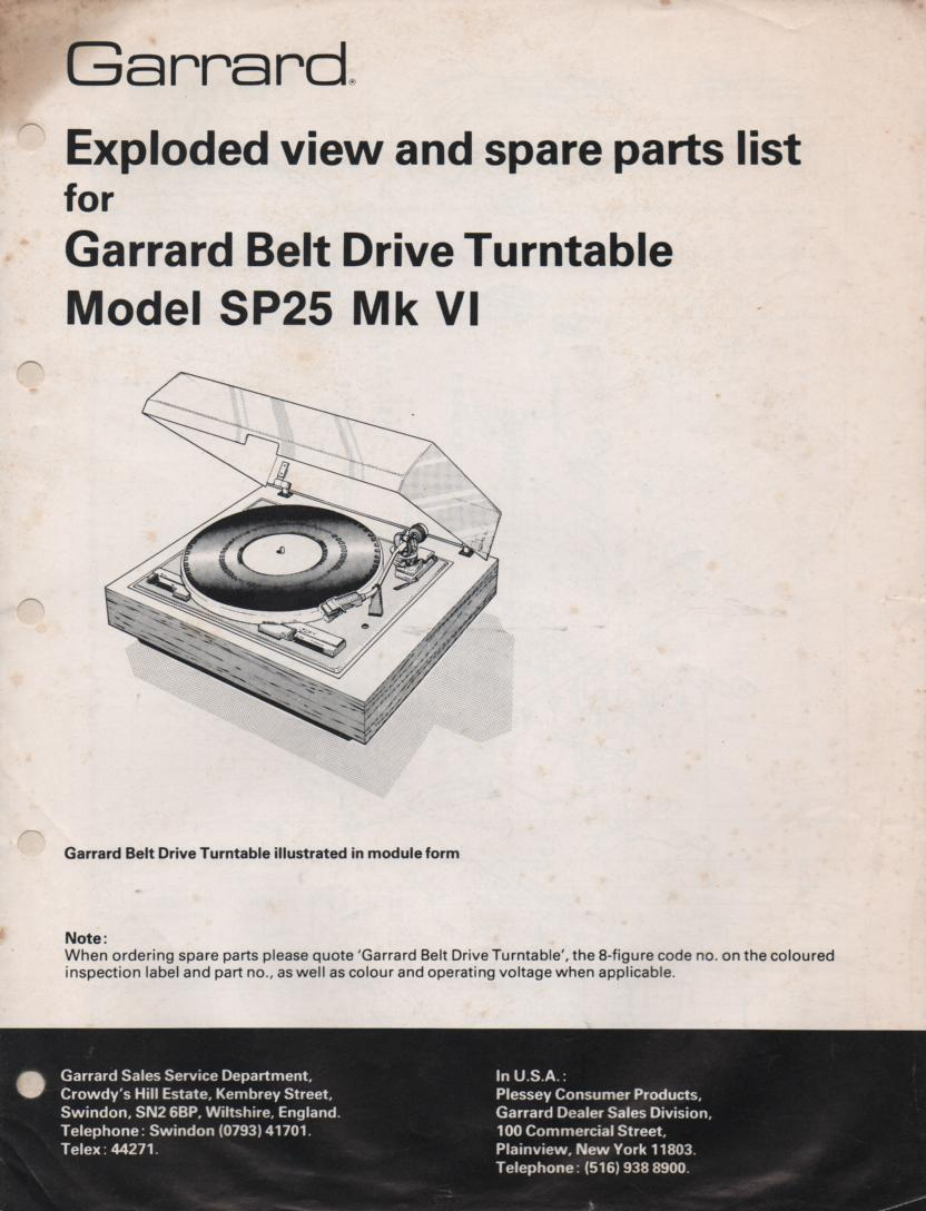 SP25 Mk VI 6 Turntable Service Manual  GARRARD