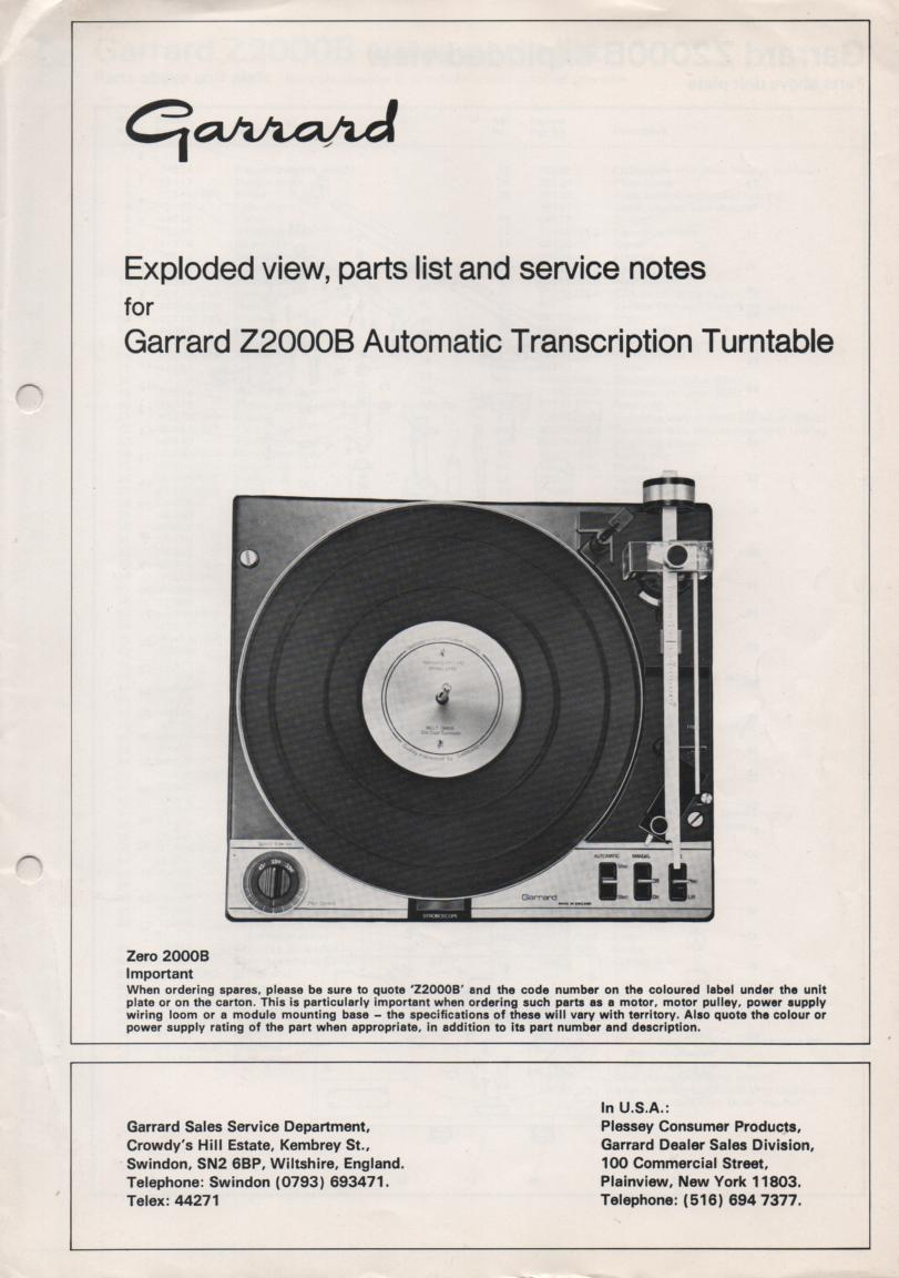 Z2000B  Turntable Service Manual