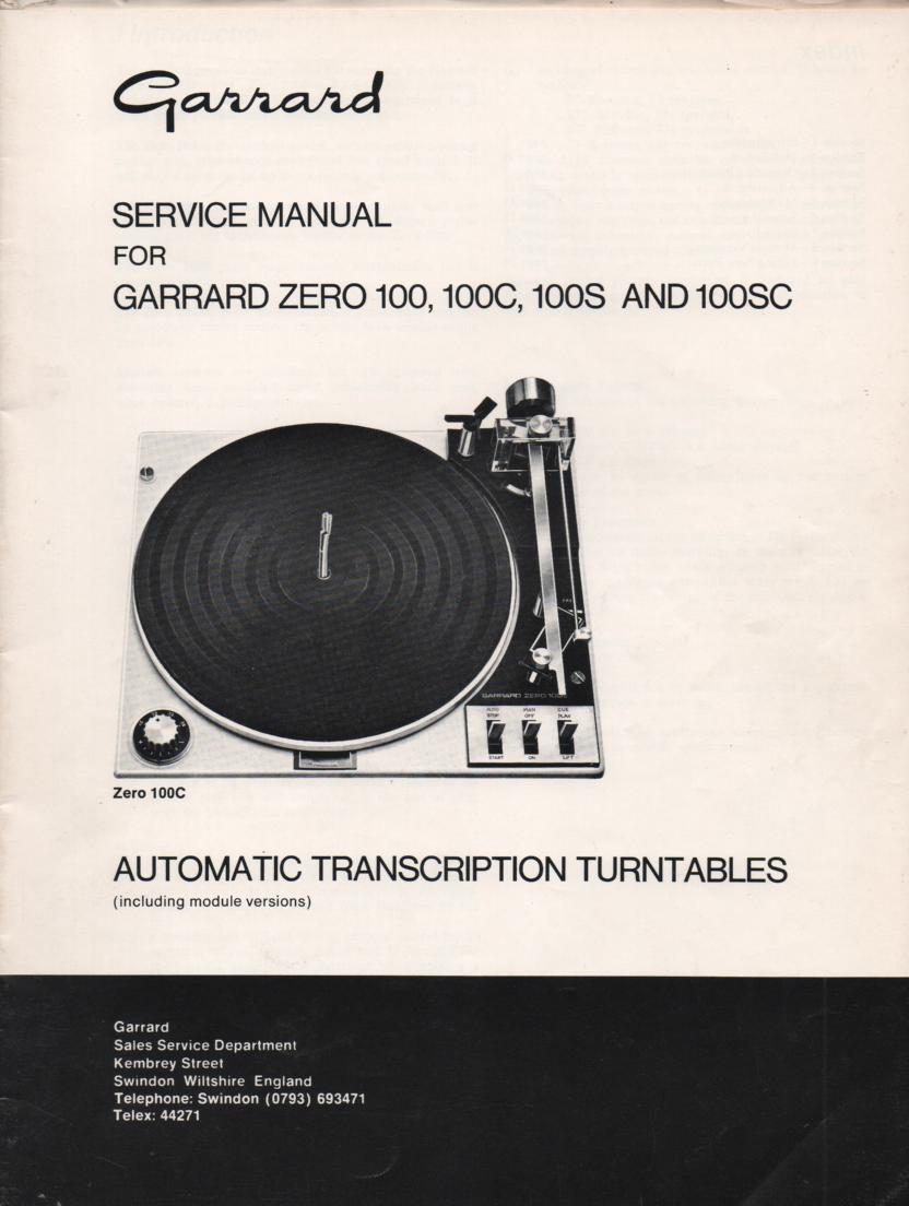 ZERO 100 100C 100S 100SC Turntable Service Manual