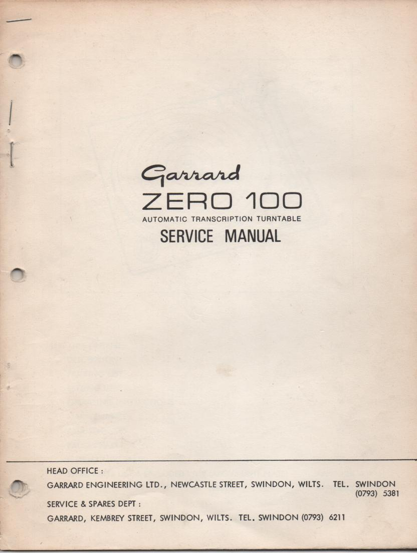 ZERO 100 Turntable Service Manual