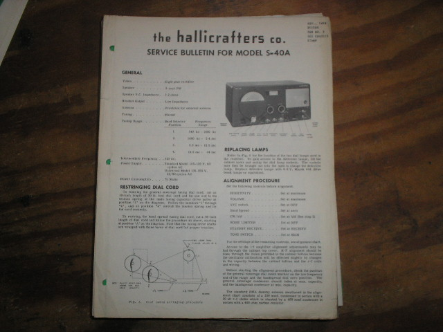 S-40B Receiver Run-3 Service Bulletin  Nov. 1948