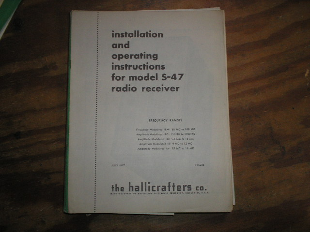 S-47  Receiver Operating Instruction Manual  Hallicrafters