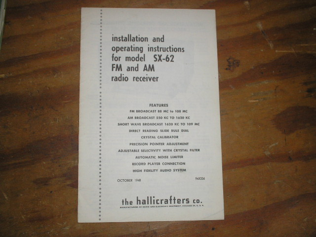 SX-62 Receiver Installation and Operating Manual  Hallicrafters