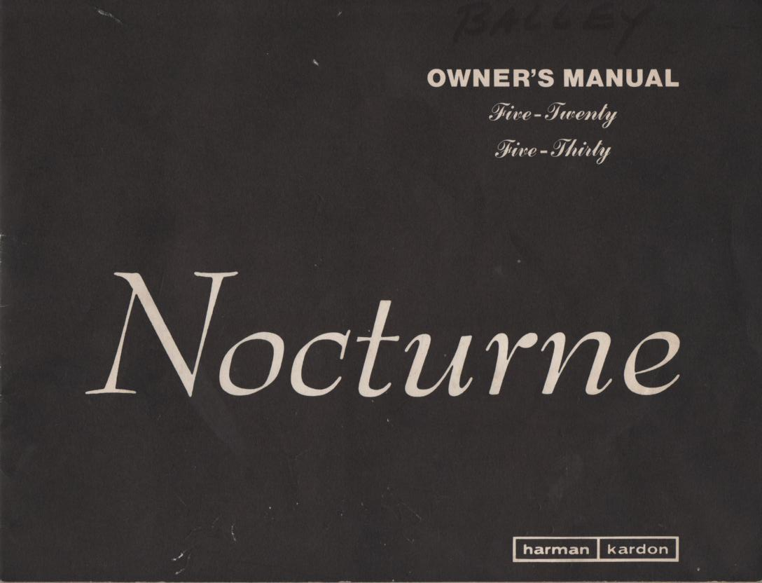 520 530 Nocturne Receiver Operating Instruction Manual  Harman Kardon