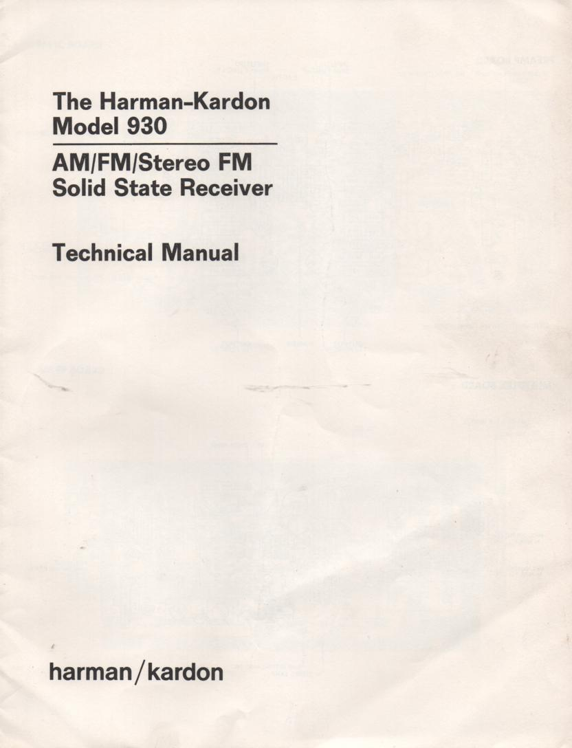 930 Stereo Receiver Service Manual