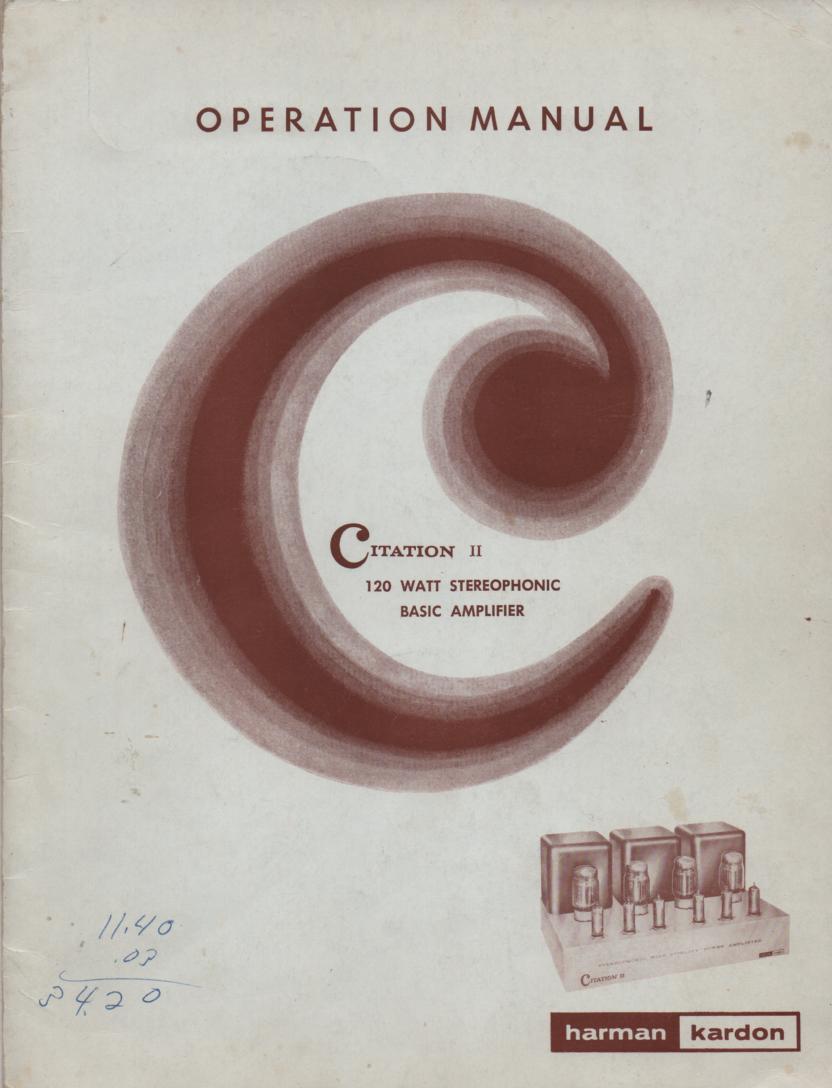 Citation 2 Amplifier Operating Service Instruction Manual