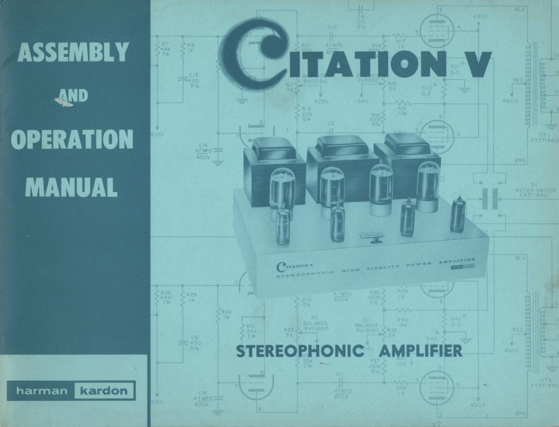 Citation 5 V Amplifier Operating Assembly Instruction Manual