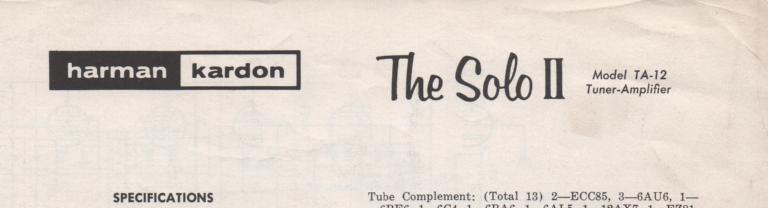 TA-12 Tuner Amplifier Service Manual