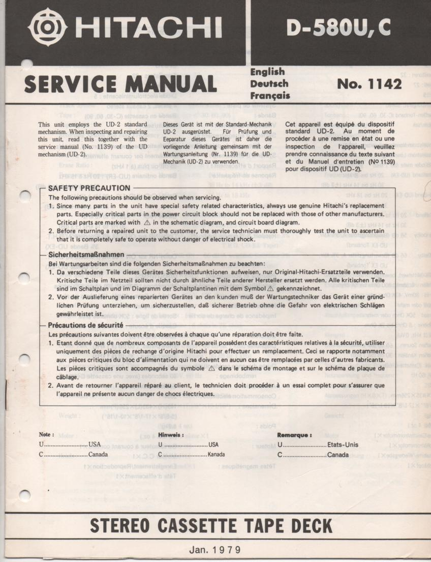 D-580 Cassette Deck Service Manual .  For U C versions.  Manual is in English Deutsch and Francais. Need the UD-2 Mechanism manual for complete service manual.