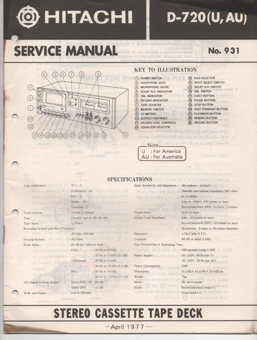 D-720 Cassette Deck Service Manual .  For U and AU versions.  Manual is in English