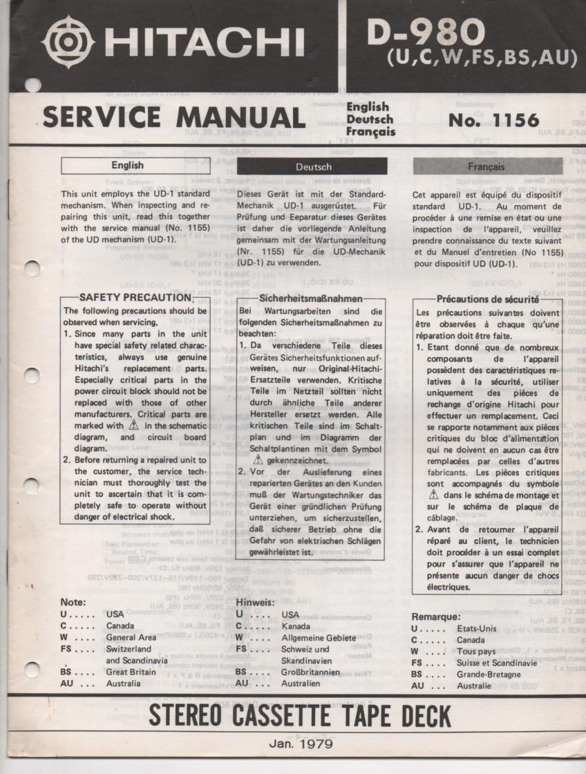 D-980 Cassette Deck Service Manual .  For U C W FS BS and AU versions. Manual is in English Deutsch and Francais. Need the UD-1 Mechanism manual for complete service manual.