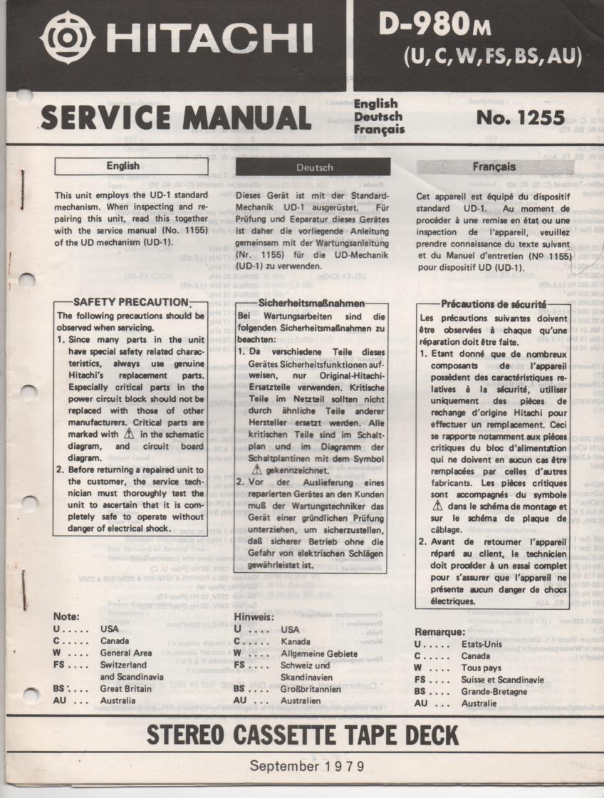 D-980M Cassette Deck Service Manual .  For U C W FS BS and AU versions. Manual is in English Deutsch and Francais. Need the UD-1 Mechanism manual for complete service manual.