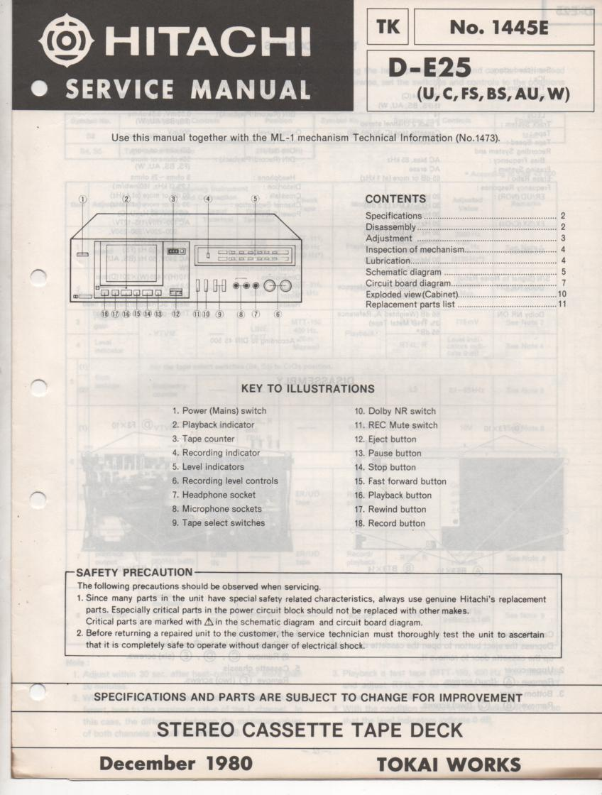 D-E25 Cassette Deck Service Manual .  For U C W FS BS and AU versions.  Manual is in English.. ML-1 Mechanism manual needed for complete manual..