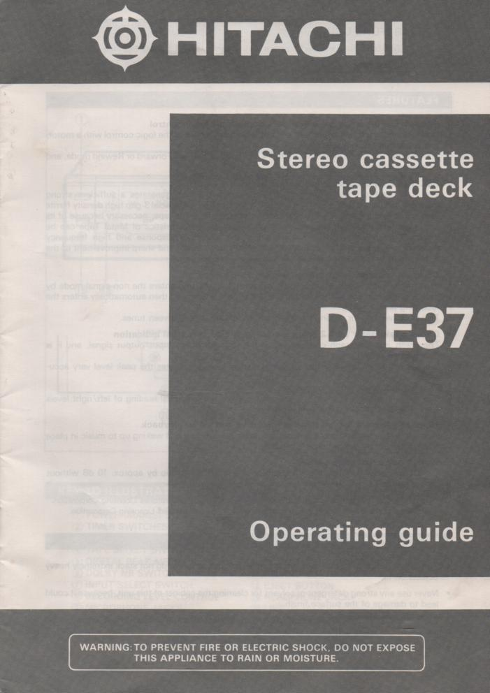 D-E37 Cassette Deck Owners Instruction Manual with Schematic