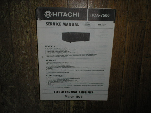 HCA-7500 Pre-Amplifier Service Manual