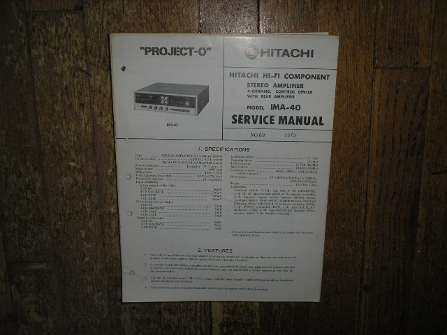 IMA-40 Pre-Amplifier Service Manual