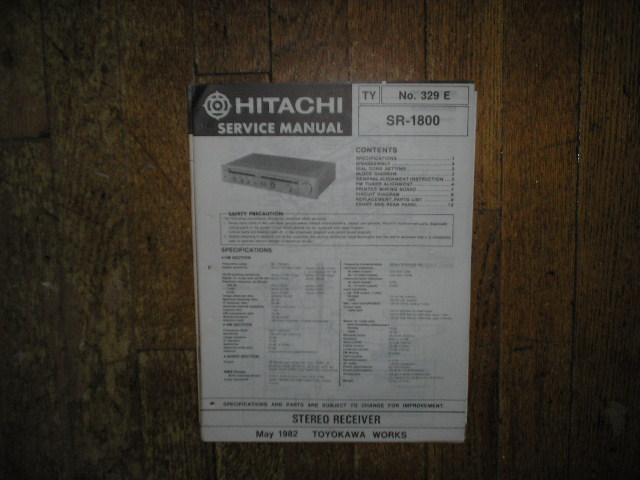 SR-1800 Receiver Service Manual  Hitachi Receivers