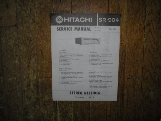 Hitachi SR-904 Receiver Instruction Manual  Hitachi Receivers
