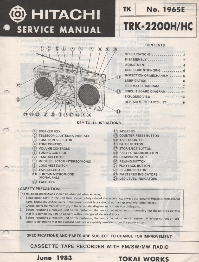 TRK-2200H TRK-2200HC Radio Service Manual