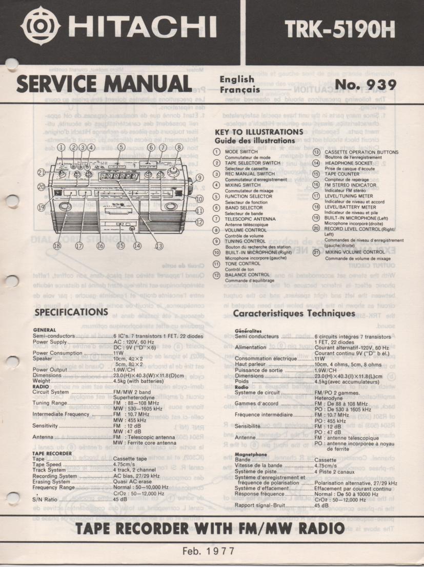 TRK-5190H Radio Service Manual