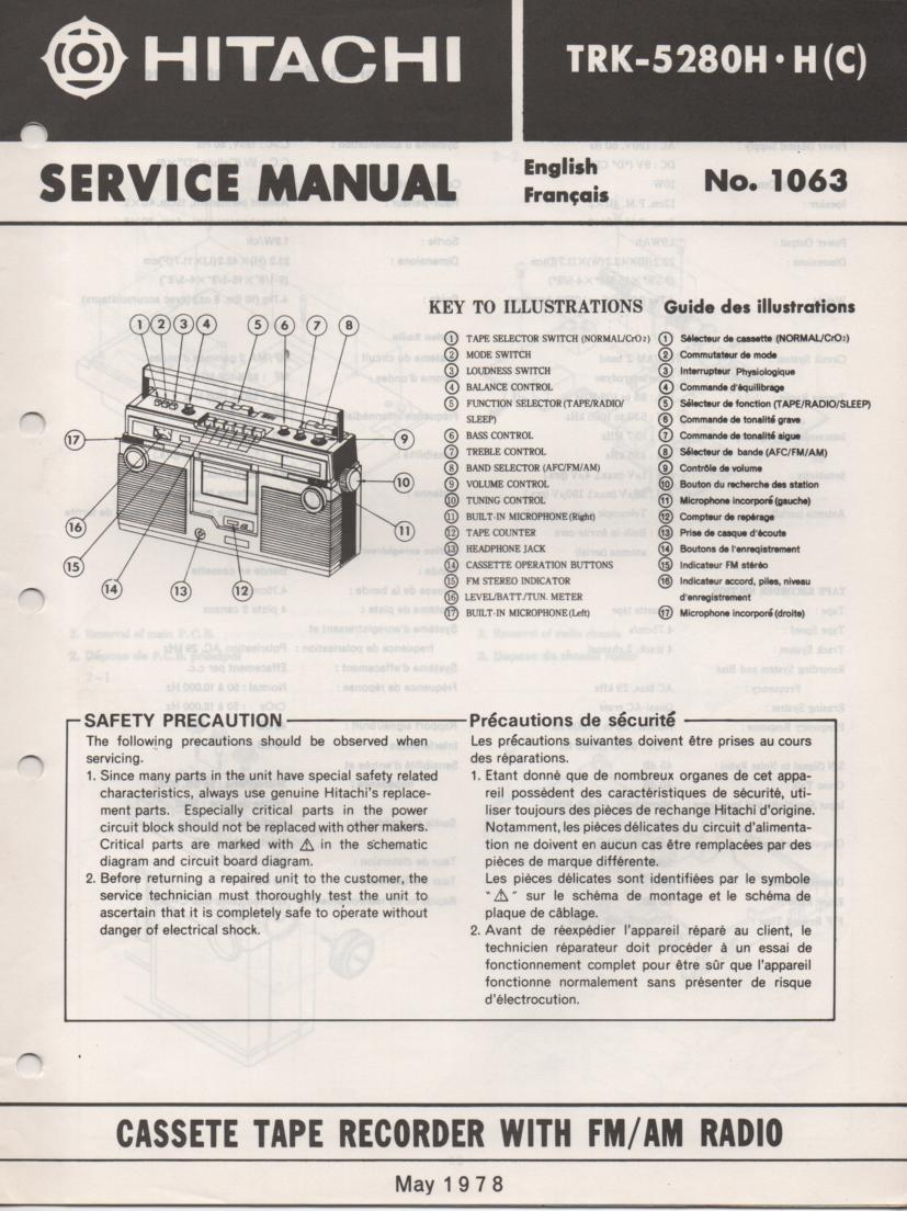 TRK-5280H TRK5280HC Radio Service Manual.  Manual is in English and French