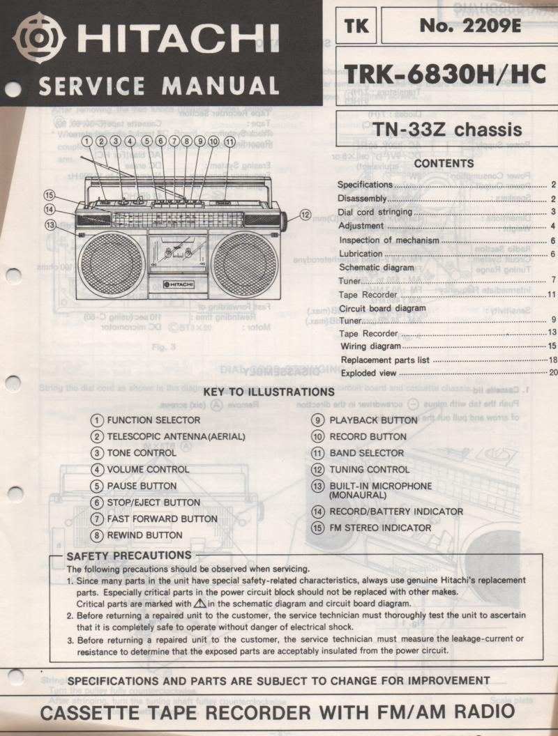 TRK-6830H TRK-6830HC Radio Service Manual.