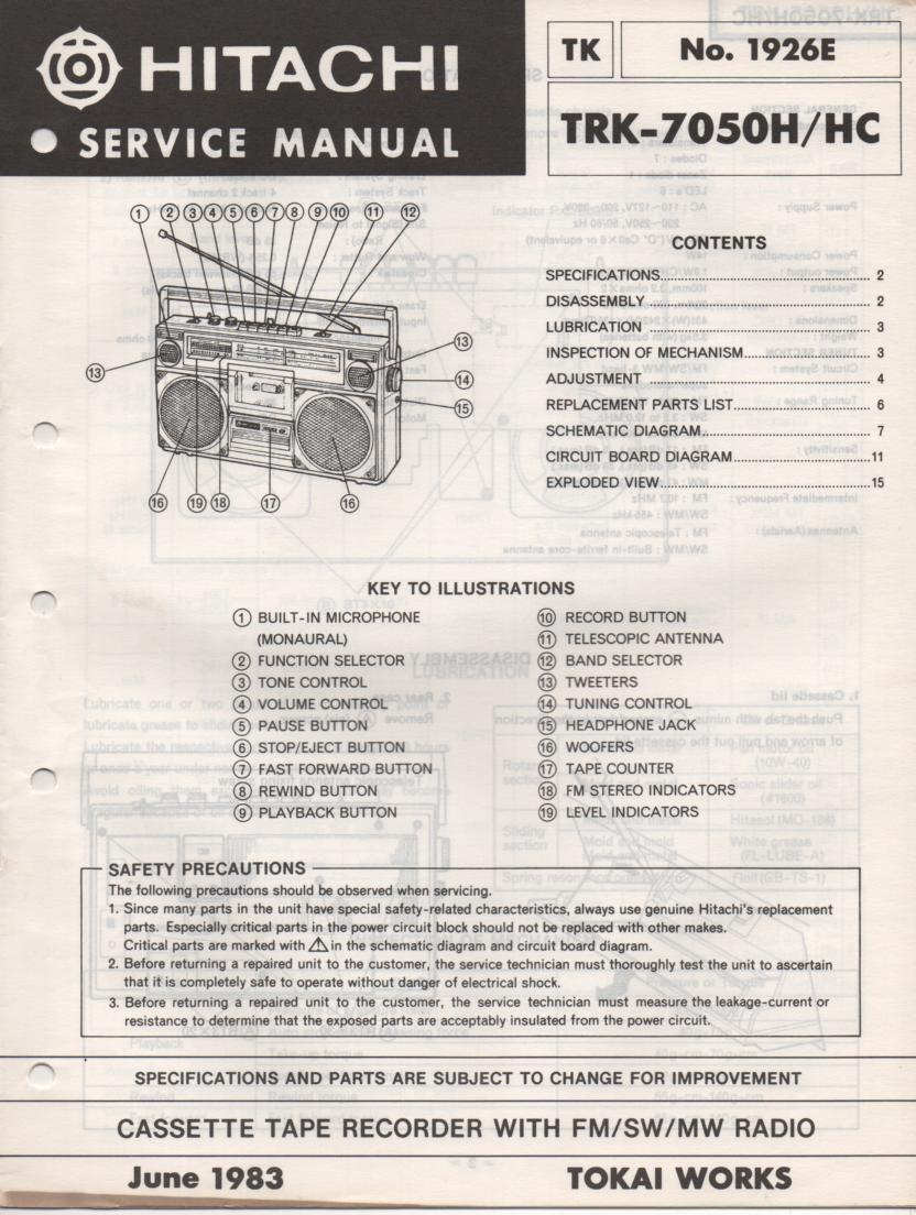 TRK-7050H TRK-7050HC Radio Service Manual
