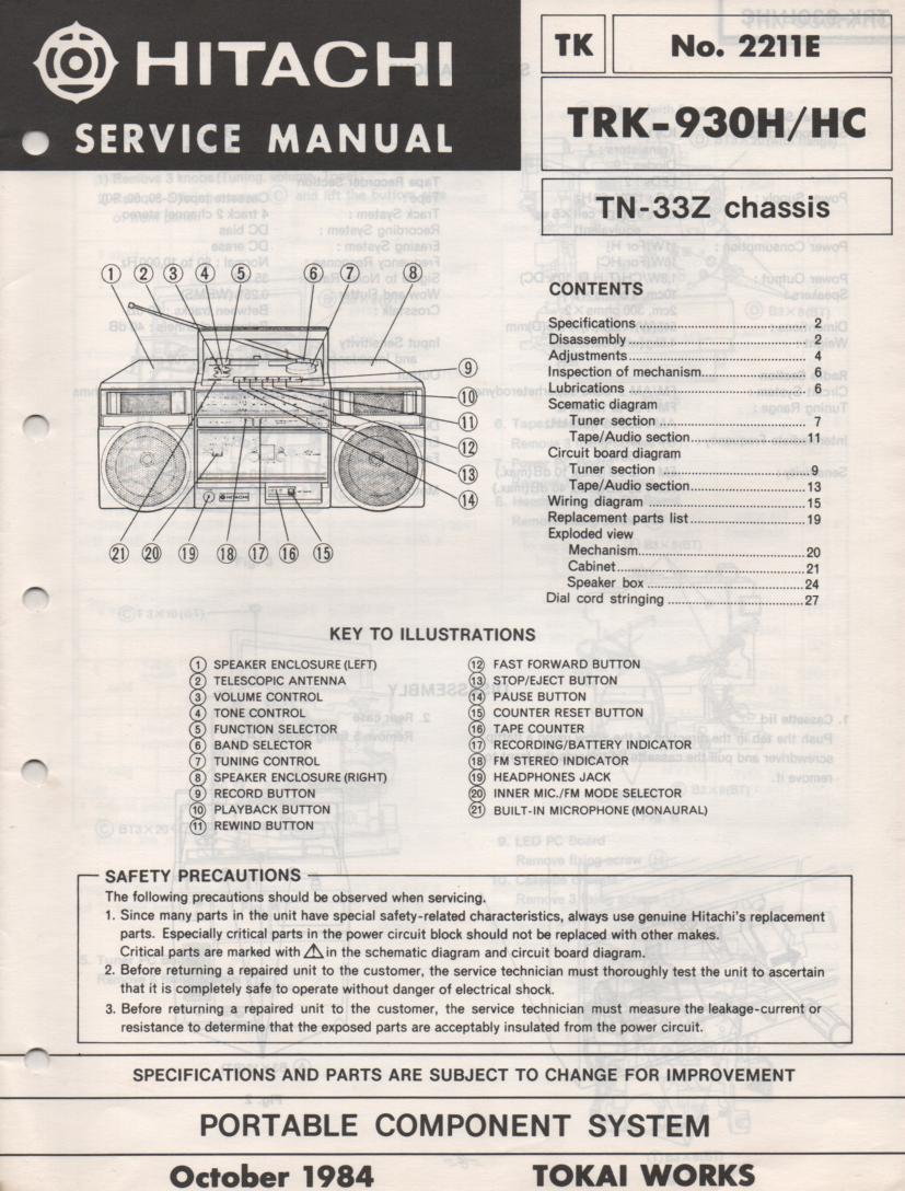 TRK-930H TRK-930HC Radio Service Manual