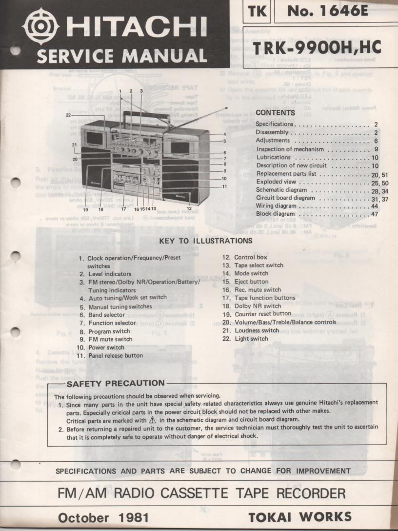 TRK-9900H TRK-9900HC Radio Service Manual