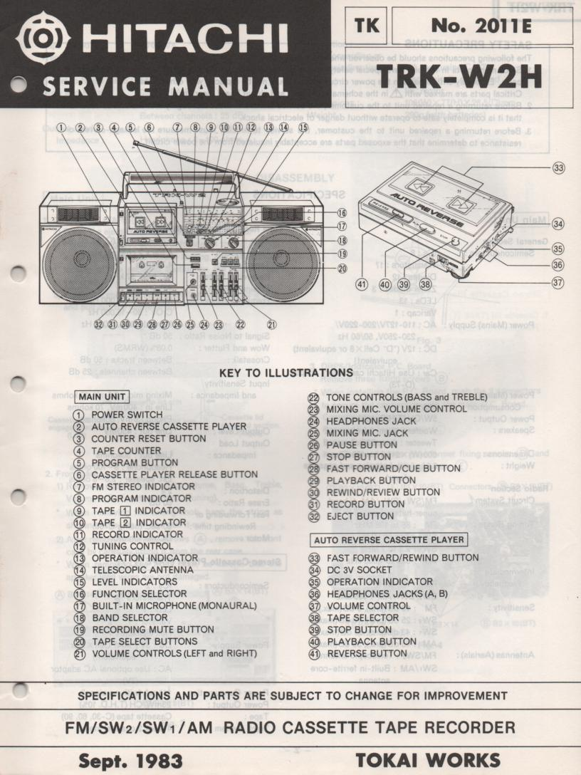 TRK-W2H TRK-W2HC Radio Service Manual