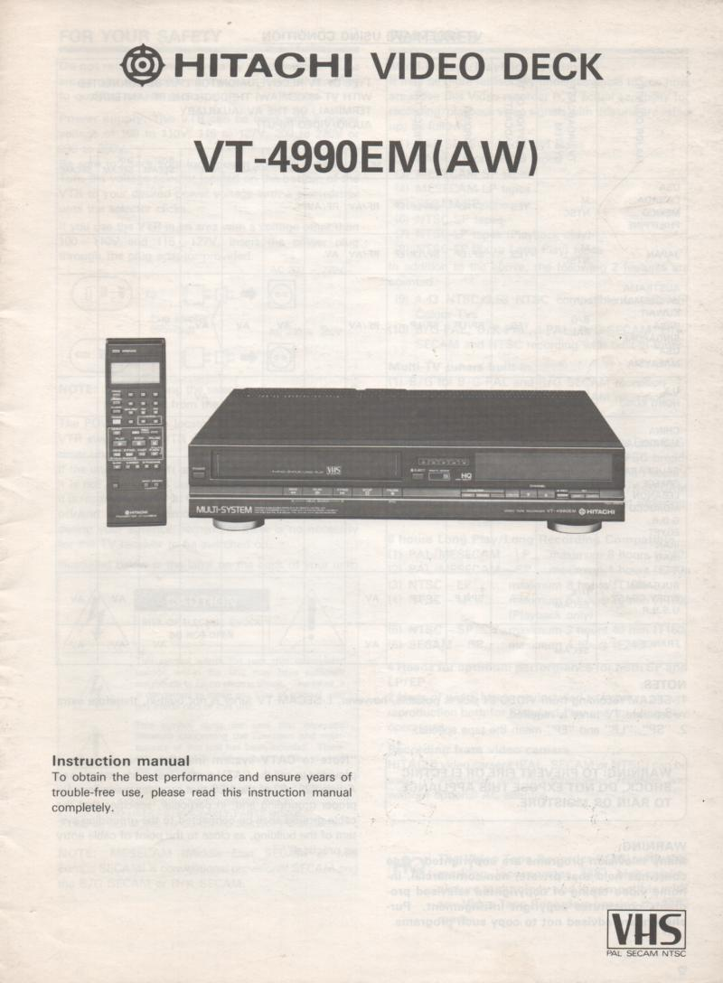 VT-4990EM AW Multi System VCR Operating Instruction Manual