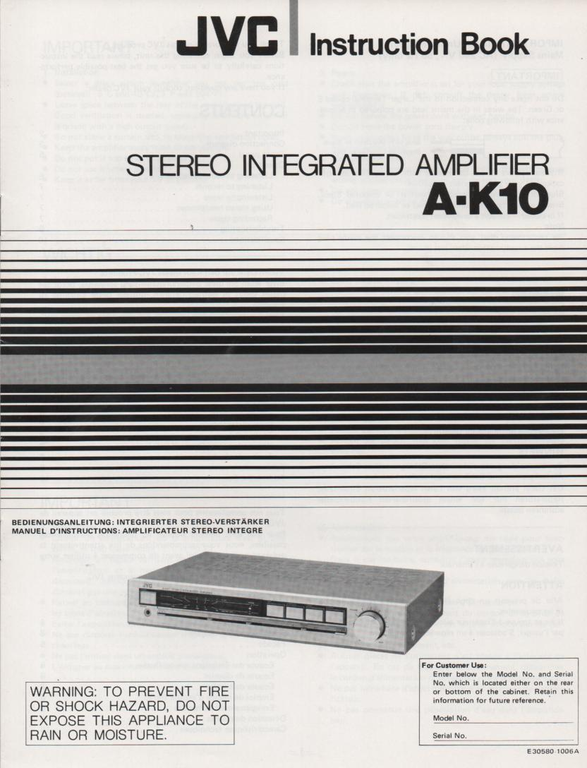 A-K10 Amplifier Owners Instruction Manual