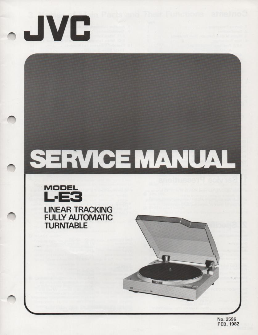 L-E3 Turntable Service Manual  JVC