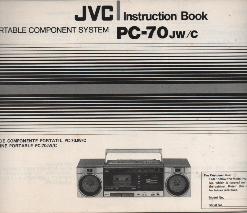 PC-70 Stereo Radio Owners Instruction Manual