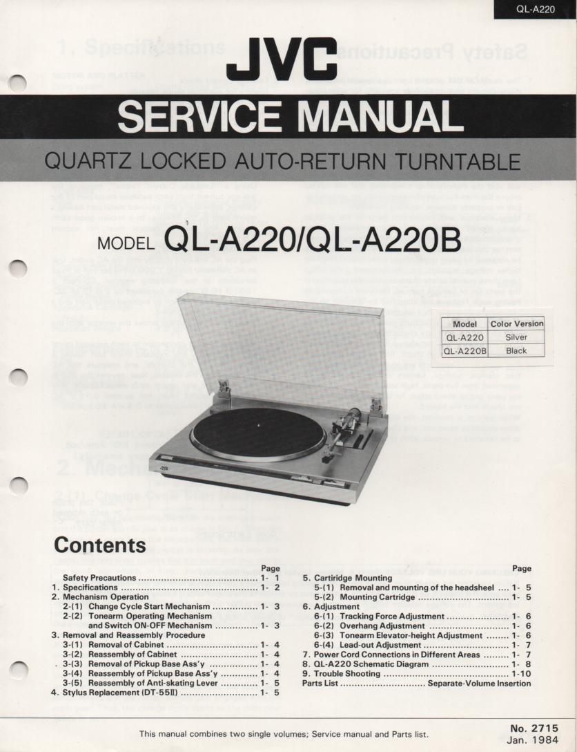 QL-A220 Turntable Service Manual  JVC