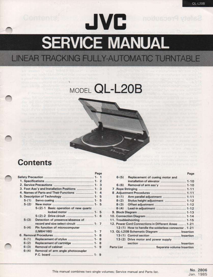 QL-L20B Turntable Service Manual  JVC