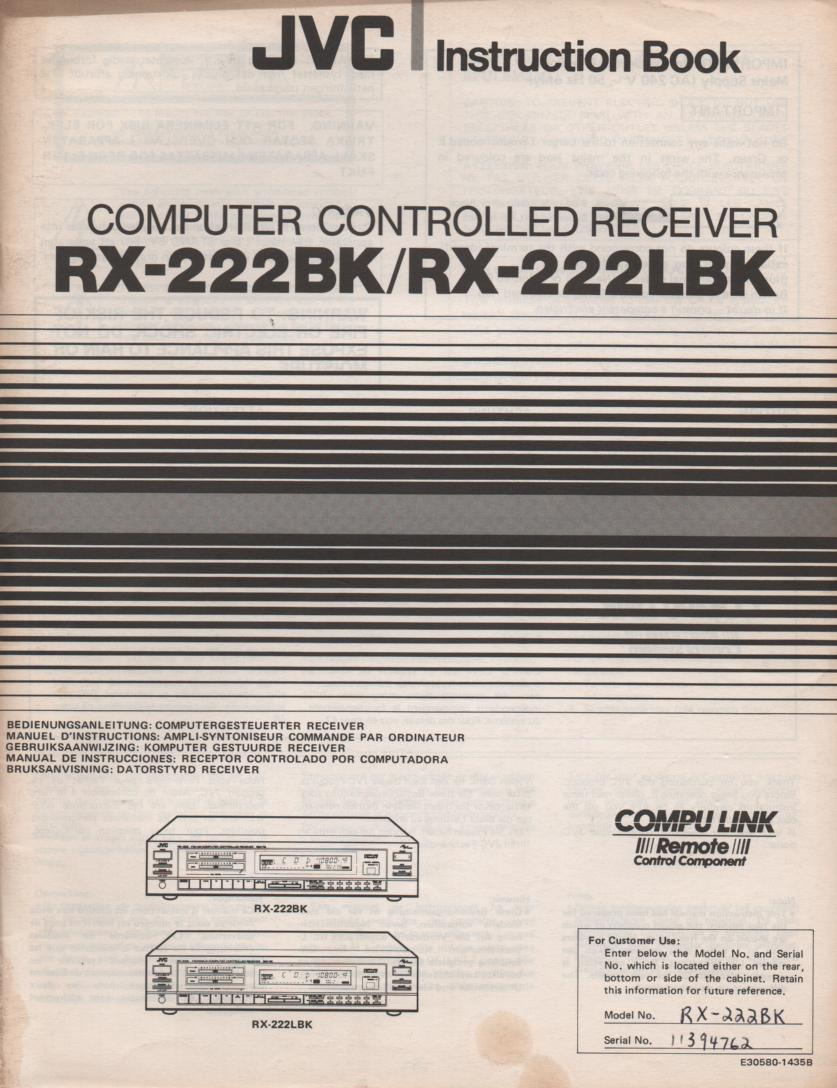 RX-222BK RX-222LBK Receiver Owners Instruction Manual  JVC