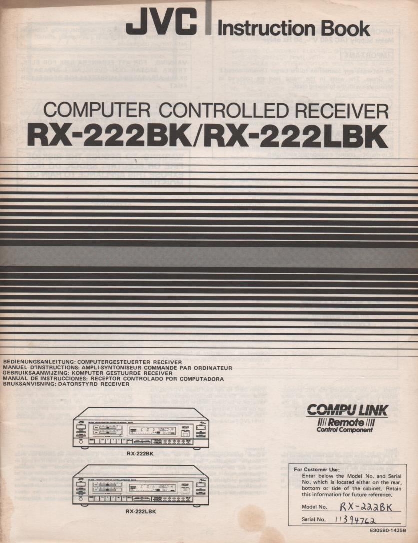 RX-222BK RX-222LBK Receiver Owners Instruction Manual