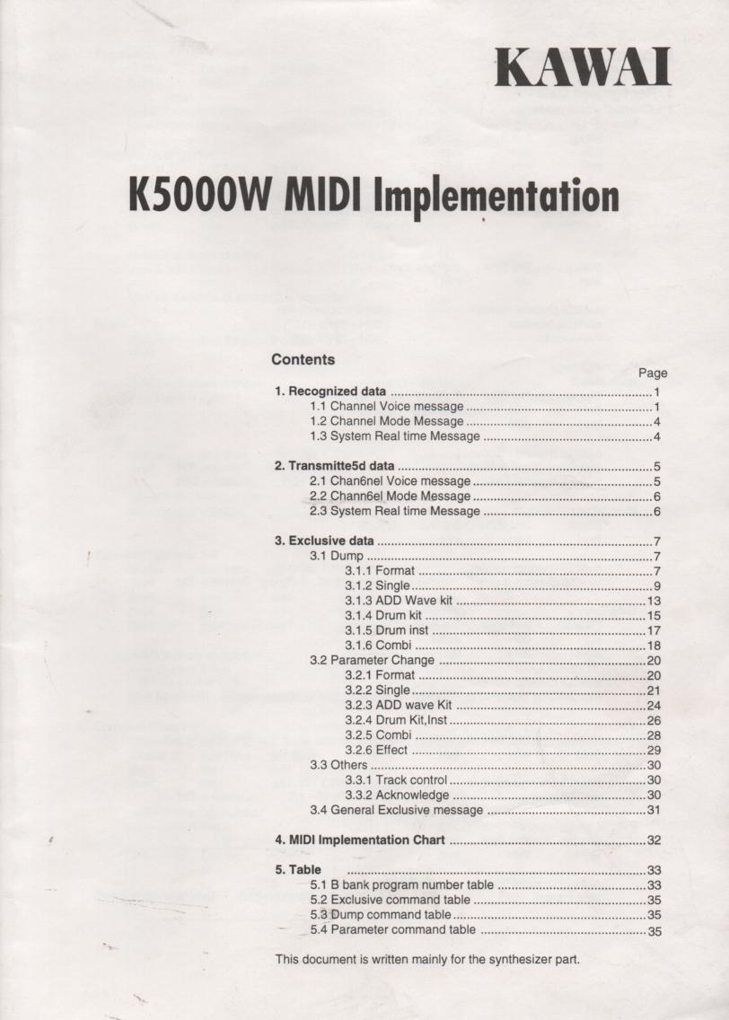K5000W Keyboard MIDI Implementation Owners Manual