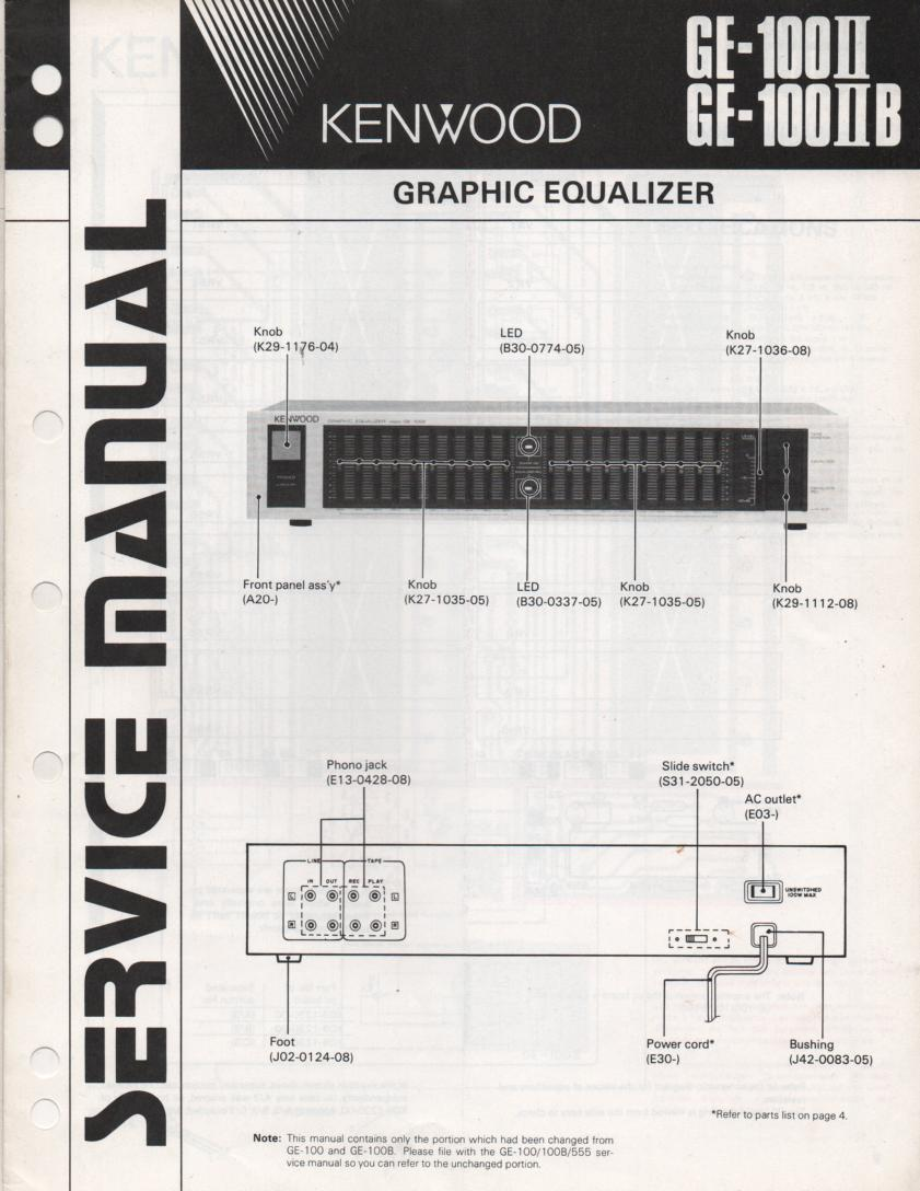 GE-100 II GE-100 2 II B  Graphic Equalizer Service Manual