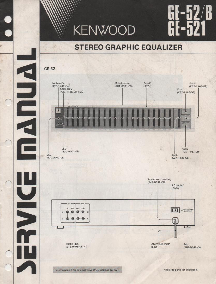 GE-52 GE-52B GE-521 Graphic Equalizer Service Manual B51-1549...880