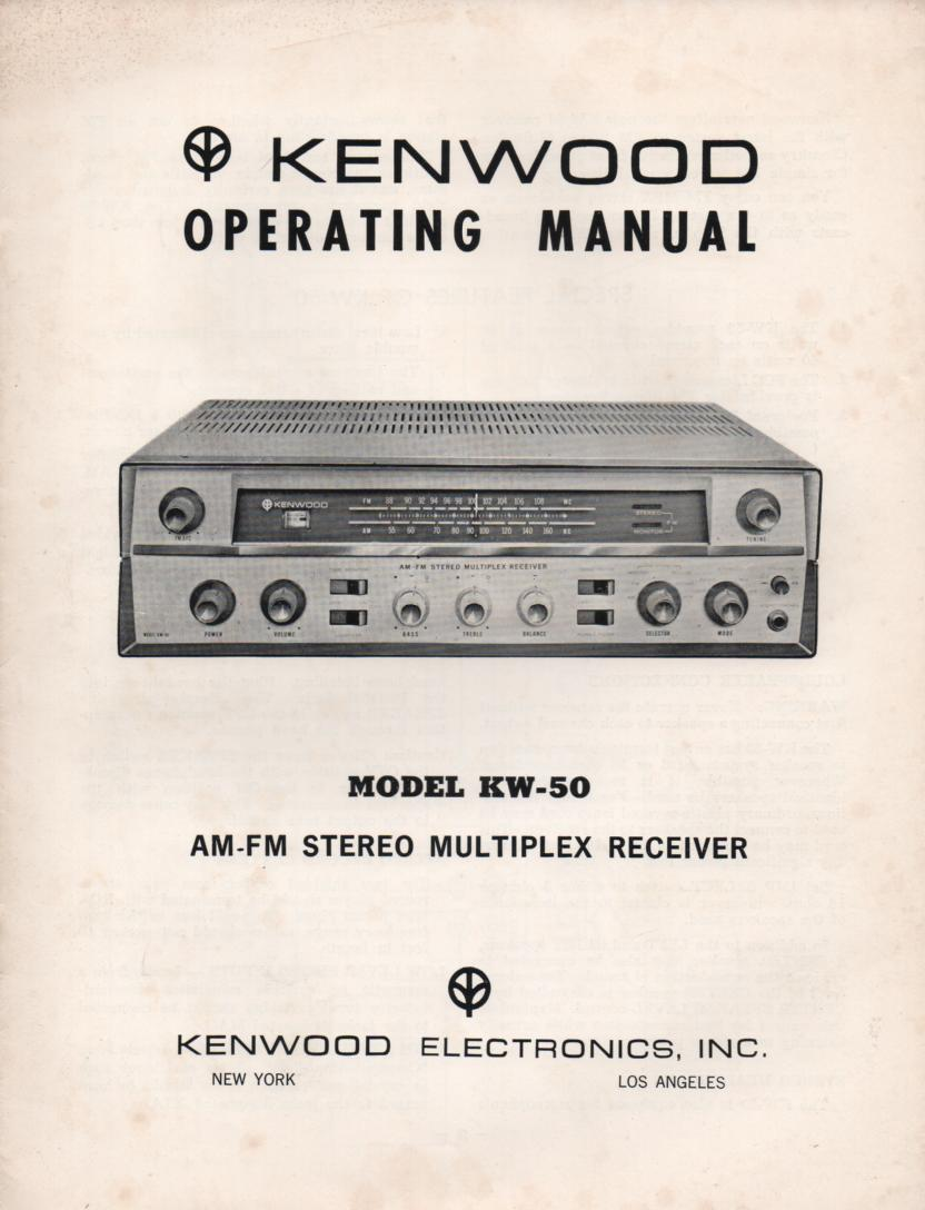 KW-50 AM FM Stereo Multiplex Receiver Owners Operating Instruction Manual with schematic only.