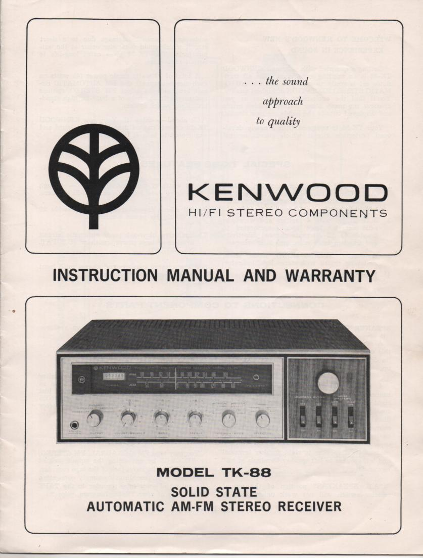 TK-88 Receiver Owners Manual with schematic