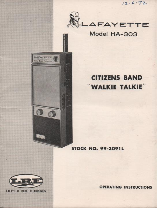 HA-303 Walkie Talkie Radio Owners Service Manual.  Owners manual with schematic...