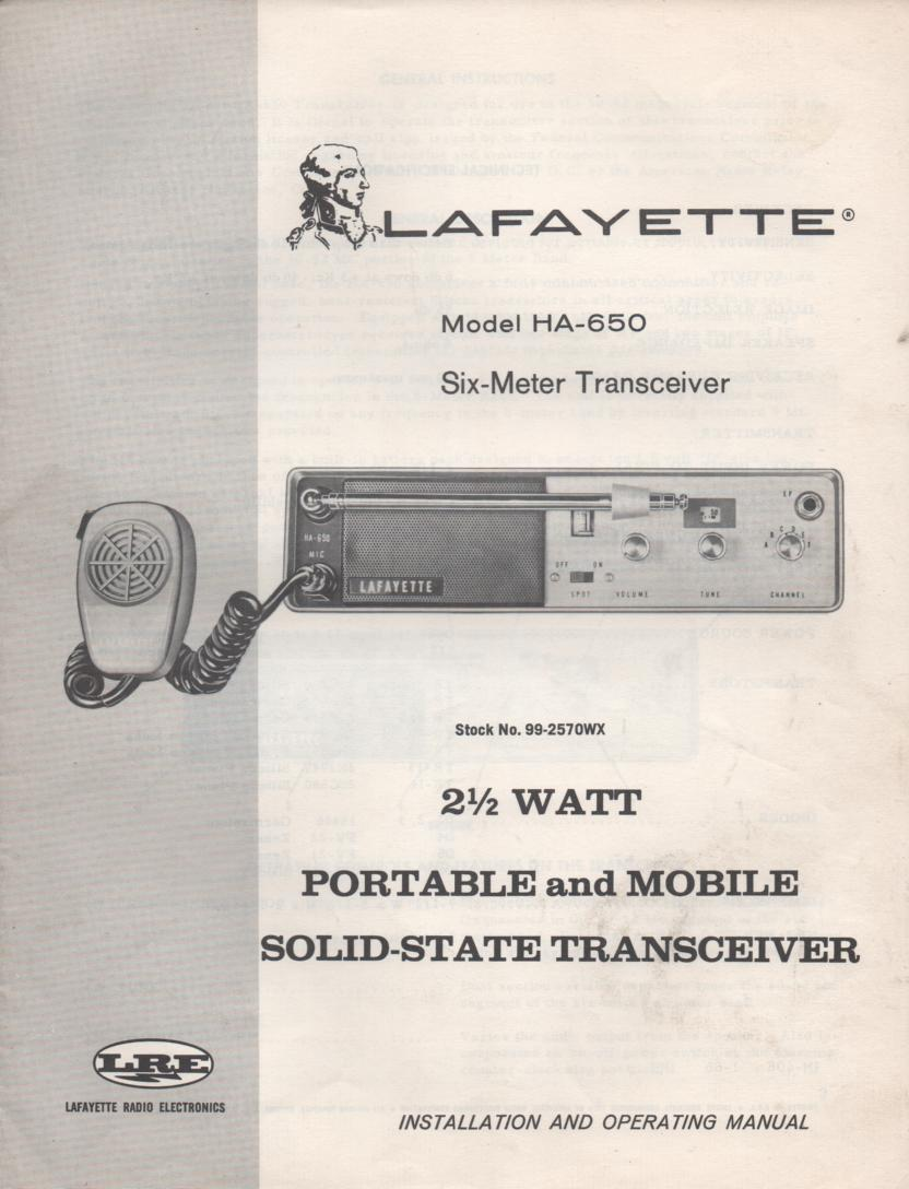 HA-650 Radio Owners Service Manual. Owners manual with schematic.   Stock No. 99-2570WX.