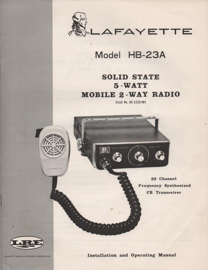 HB-23A CB Radio Owners Service Manual.   Owners manual with schematic..  Stock No. 99-32351WX