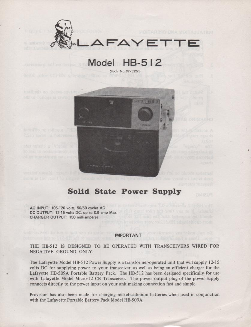 HB-512 Power Supply Owners Service Manual. Owners manual with schematic..   Stock No. 99-32278